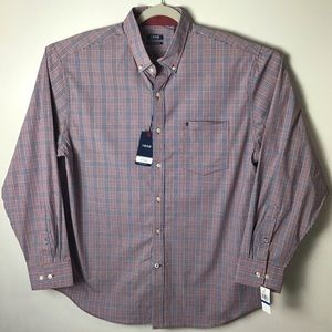 Izod red and blue plaid button down. XL